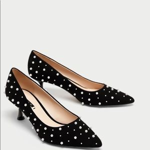 ZARA Court Shoes With Faux Pearls